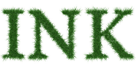 Ink - 3D rendering fresh Grass letters isolated on whhite background.