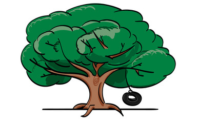 Oak Tree with Hanging Tire