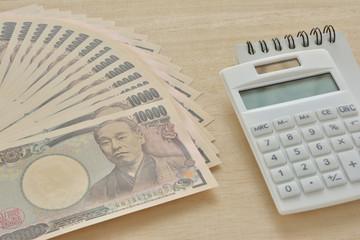 一万円札 電卓 メモ帳