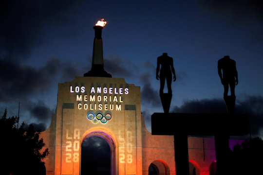 An LA2028 sign is seen on the Los Angeles Coliseum to celebrate Los Angeles being awarded the 2028 Olympic Games, in Los Angeles