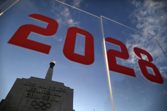 An LA2028 sign is seen at the Los Angeles Coliseum to celebrate Los Angeles being awarded the 2028 Olympic Games, in Los Angeles