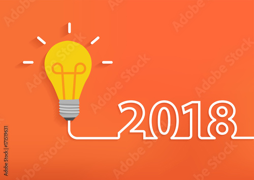 Creative Light Bulb Idea With 2018 New Year Design, Inspiration Business  Plan, Marketing Strategy
