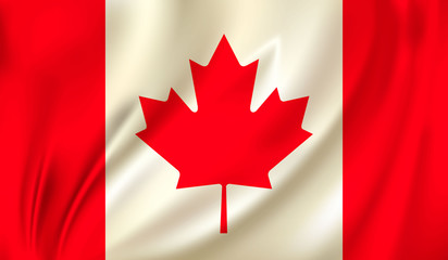3D Waving Flag of Canada. Vector illustration