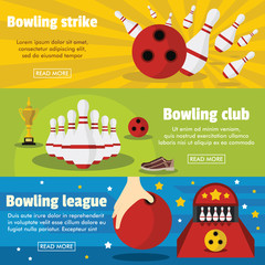 Bowling horizontal banners set with bowling champ club and leagues symbols
