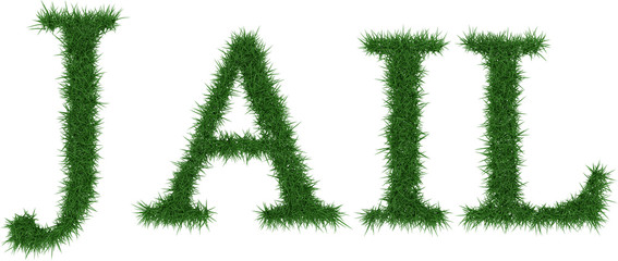 Jail - 3D rendering fresh Grass letters isolated on whhite background.
