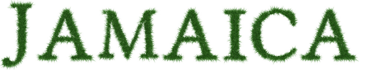 Jamaica - 3D rendering fresh Grass letters isolated on whhite background.