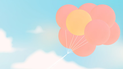 Outstanding yellow balloon among pink balloons flying over bright blue sky