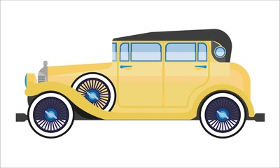 Old car or vintage retro collector auto wehicle vector flat icon