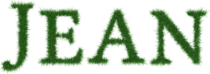 Jean - 3D rendering fresh Grass letters isolated on whhite background.
