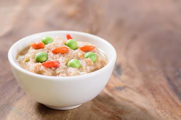 Thai food (Nam Prik Kapi),shrimp paste chili dip in a bowl on wooden background