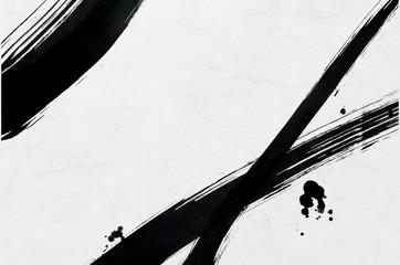 筆で描いた線と点 和紙背景