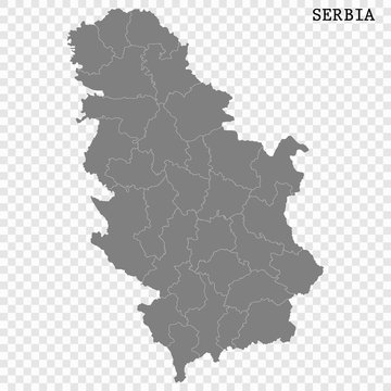High quality map of Serbia with borders of the regions