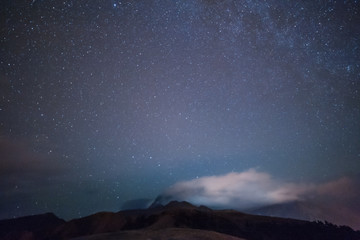 Stars in night mountains