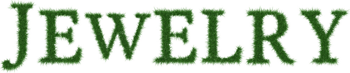 Jewelry - 3D rendering fresh Grass letters isolated on whhite background.