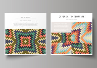 Business templates for square design brochure, magazine, flyer, booklet. Leaflet cover, abstract vector layout. Tribal pattern, geometrical ornament in ethno syle, vintage fashion background.
