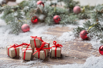 Christmas background on wooden