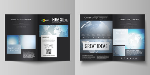 The black colored vector illustration of the editable layout of two A4 format modern covers design templates for brochure, flyer, booklet. Scientific medical DNA research. Science or medical concept.