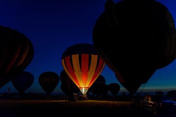 Printed roller blinds Balloon Hot air balloons glowing at night