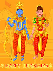 Statue of Indian God Rama and Sita for Happy Dussehra festival of India
