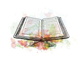 Watercolor sketch of Quran book in vector illustration.