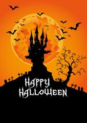 Happy Halloween, Haunted Castle at sunset, vector illustration