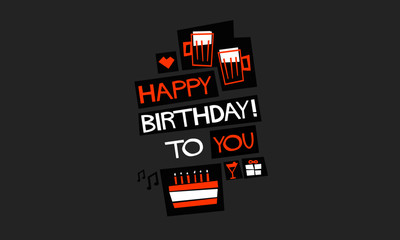HAPPY BIRTHDAY TO YOU (Vector Illustration in Flat Style Poster Design)