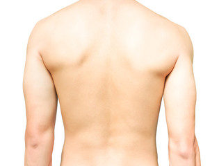 Closeup back of man on white background beauty healthy skin care concept