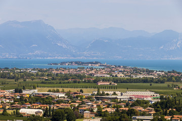 Views of Sirmione and Lake Garda from the top of the tower in San Martino della Battaglia. Desenzano del Garda, Lombardy, Italy