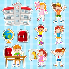 Sticker set with students and school