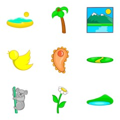 Australian fauna icons set, cartoon style