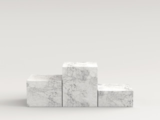 Empty white marble podium on white background. 3D rendering.