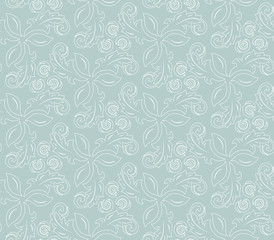 Floral vector light blue and white ornament. Seamless abstract classic background with flowers. Pattern with repeating elements