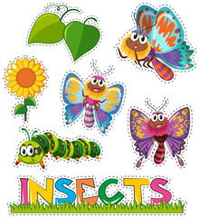Sticker set with butterflies in garden