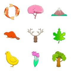 Forest landscape icons set, cartoon style