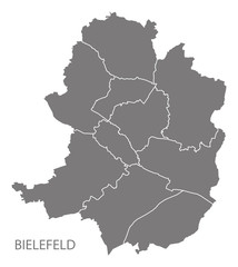 Bielefeld city map with boroughs grey illustration silhouette shape