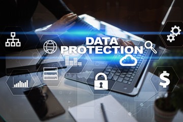 Data protection, Cyber security, information safety and encryption. internet technology and business concept.  Virtual screen with padlock icons.