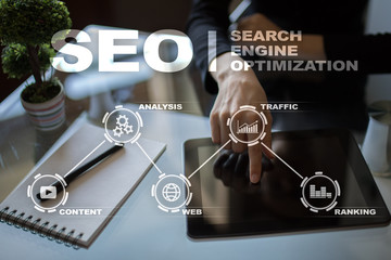 SEO. Search Engine optimization. Digital online marketing andInetrmet technology concept.?