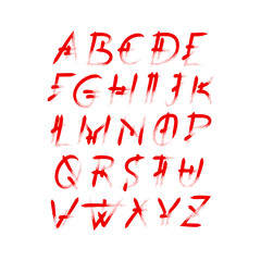 Alphabet vector set of red capital handwritten letters. Handwritten italic font of semi-dry brush smears in horror style.