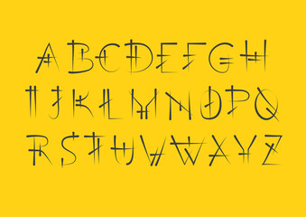 Vector alphabet set. Capital serif letters in cuneiform style. Black letters on yellow background.