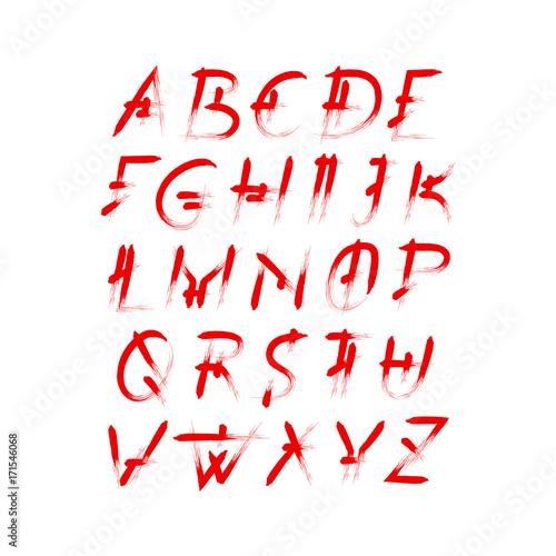 Alphabet Vector Set Of Red Capital Handwritten Letters Italic Font Semi Dry