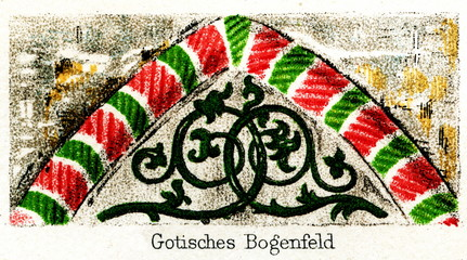 Medieval gothic tympanum (from Meyers Lexikon, 1896, 13/248/249)