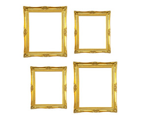 Collection of vintage photo frame isolated on white background