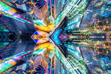 Creative graphic sci fi abstract modern city background.