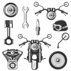Vector vintage motorcycle icons, symbols set