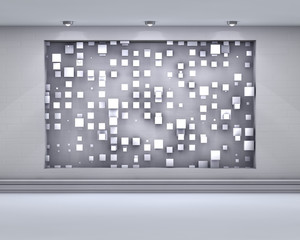 3d empty niche with spotlights and chaotic abstract cubes for exhibit in the grey interior