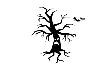 Horror tree silhouette vector. Silhouette of a tree on a white background. Evil tree icon