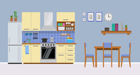 Modern cozy yellow kitchen interior, flat style, vector graphic design template