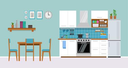 Modern cozy white  kitchen interior, flat style, vector graphic design template