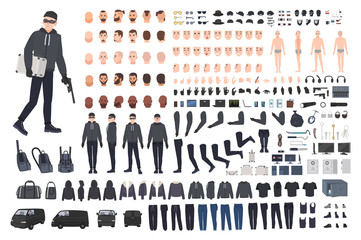 Thief, burglar or robber DIY kit. Collection of flat male cartoon character body parts in different positions, skin types, clothing and accessories isolated on white background. Vector illustration.