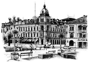 Neumann Palace Arad Vector On White